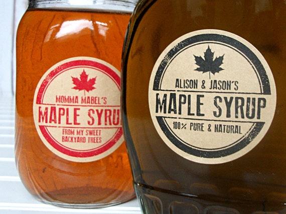 Custom Kraft Rubber Stamp Maple Syrup Labels