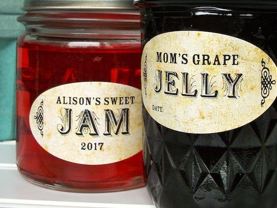 JAM JELLY PERSONALIZED MASON JAR LID BOTTLE KITCHEN FOOD STICKLERS LABELS