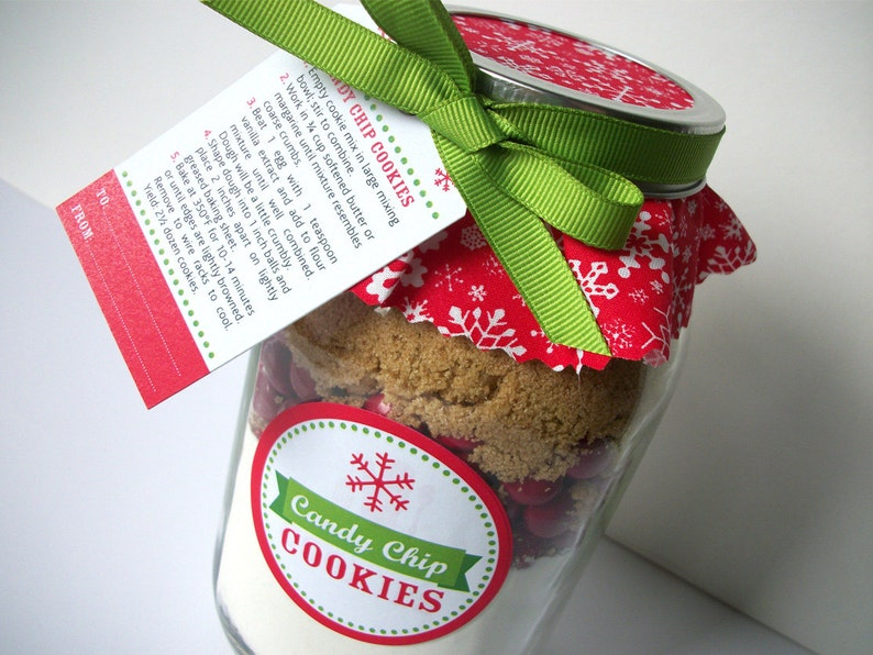 Christmas Cookie Jar Decorations Cookie Mix In A Jar Recipe With Ribbon Fabric Labels Tags 4 Recipes Available To Make Your Own Jar Gift