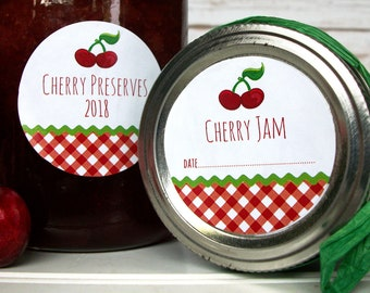 Gingham Cherry canning labels, round fruit mason jar labels for jam, jelly, preserves, pickled & maraschino cherries, and pie filling