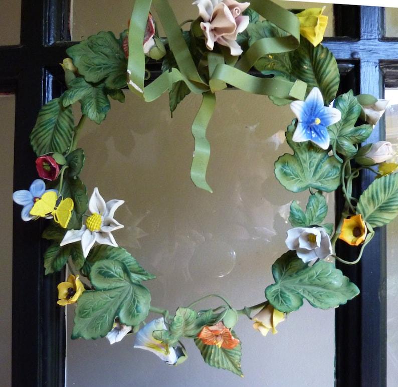 Vintage Petite Chose  Dresden 1205 Painted Spring Floral Wreath No