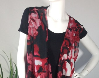 Red, Black and White Floral Vest