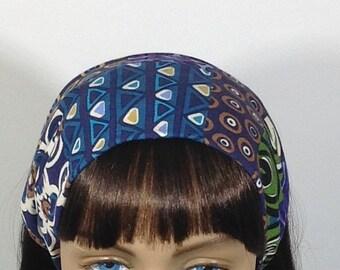 Blue, purple and green wide headband