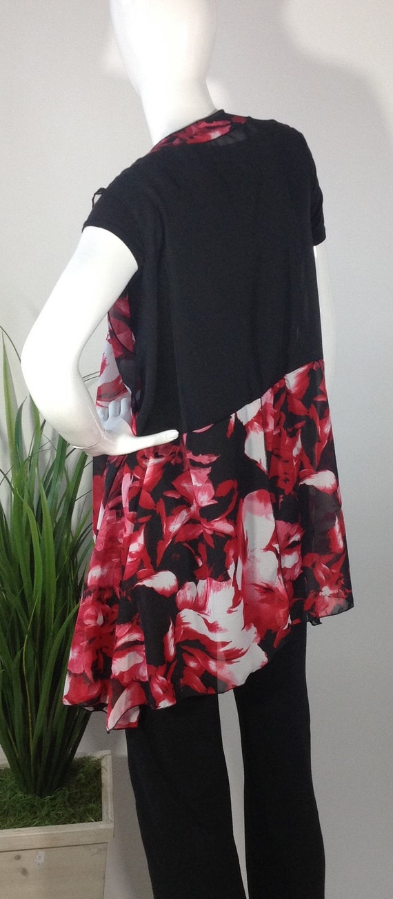 Floral and White Vest Red Black wRvxqCxU