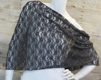 Grey Floral Lace Infinity scarf, wrap, shawl, long scarf, cowl