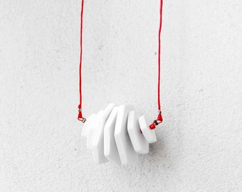 Geometric Minimalist Long Necklace, Contemporary Jewelry, Polygons on a string