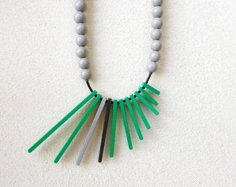 green grey black geometric necklace , minimalist contemporary jewelry