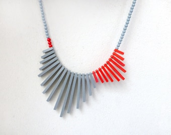 geometric tribal necklace , red & grey , contemporary jewelry