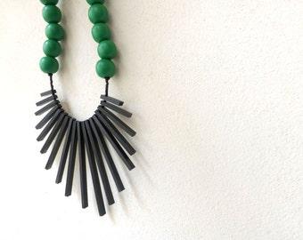 black sticks & green beads necklace , tribal geometric contemporary jewelry