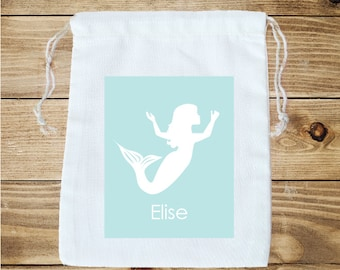 Mermaid Personalized Cotton Favor Bag