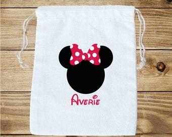 Minnie Mouse and Mickey Mouse Inspired Personalized Favor Bag