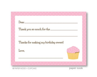 Cupcake PRINTABLE Fill-in-the-Blank Thank You Note