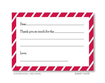 Red Stripes PRINTABLE Fill-in-the-Blank Thank You Note