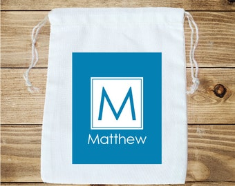 Square Initial Personalized Cotton Favor Bag