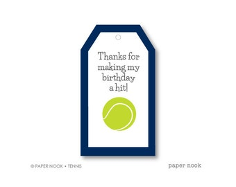 Tennis Birthday PRINTABLE Gift Tag