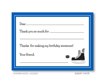Hockey PRINTABLE Fill-in-the-Blank Thank You Note
