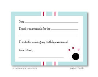 Bowling PRINTABLE Fill-in-the-Blank Thank You Note
