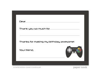 Gaming Party PRINTABLE Fill-in-the-Blank Thank You Note