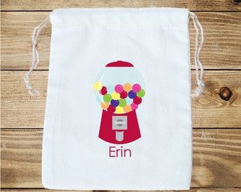Gumball Machine Personalized Cotton Favor Bag