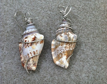 Brown and White Shell Wire-Wrapped Earrings