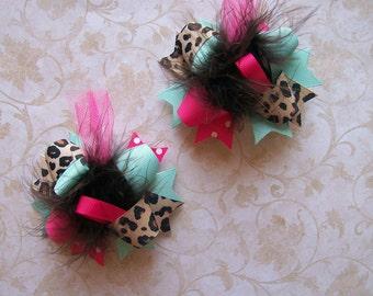 Leopard Hair Bow, Colorful Hair Ribbon, Custom Baby Hairbow, Ribbon Hair Clip, Baby Hair Bow Clip, Pigtail Bows