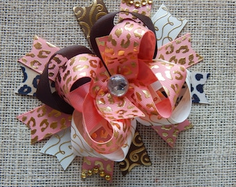 Coral Hair Bow, Colorful Hair Ribbon, Custom Baby Hairbow, Ribbon Hair Clip, Baby Hair Bow Clip Coral and Leopard, over the top bow