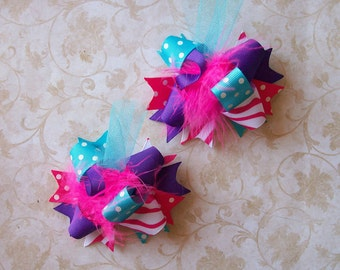 Hair Bows Set of 2---Mini Funky Fun Over the Top Bows----Hot Pink, Turquoise and Purple---SUPER Cute Colors