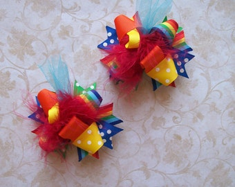 Rainbow Hair Bow, Colorful Hair Ribbon, Custom Baby Hairbow, Ribbon Hair Clip, Baby Hair Bow Clip, Rainbow Bright Bow