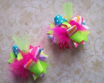 Hair Bow, Colorful Hair Ribbon, Custom Baby Hairbow, Ribbon Hair Clip, Baby Hair Bow Clip, Neon Zebra Bow