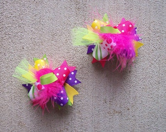 Eye Candy--Hair Bows Set of 2---Mini Funky Fun Over the Top Bows--Pink, Lime, Yellow, Purple--MUST Have