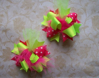Neon Hair Bow, Colorful Hair Ribbon, Custom Baby Hairbow, Ribbon Hair Clip, Baby Hair Bow Clip, Neon Pink and Green Bow