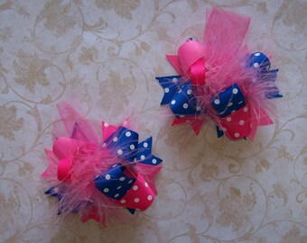 Pigtail Hair Bow, Colorful Hair Ribbon, Custom Baby Hairbow, Ribbon Hair Clip, Baby Hair Bow Clip, Pink and Bluue Bow