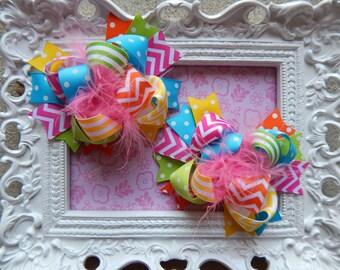 Hair Bows, hairbows, Hair Clips, over the top hair bows, Chevron hair bows, pigtail hair bows, multi colored hair bows