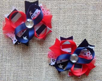4th of July Bows, Hair Bow, Colorful Hair Ribbon, Custom Baby Hairbow, Ribbon Hair Clip, Baby Hair Bow Clip, Pigtail bows