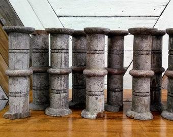 Antique Spindles Wool Spindles Wood Spindles Primitive Bulgarian Spindles Set of 3 Turned Wooden Spindles Rustic Decor