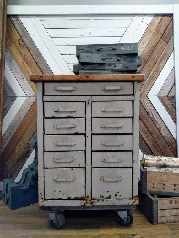 Cart; Wood & Metal Cabinet; Kitchen Island on Wheels; Dry Bar; Industrial  Factory Salvage; Antique Metal Drawers; Masculine Organization
