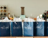 10 Bundle Set of Custom Gift Bags + NAVY Gift Bags + Wedding Gift Bags + Bridal Shower Gift Bag + Bachelorette Party Bags + Welcome Bags