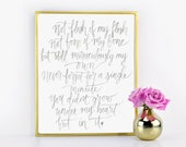 Not Under My Heart But In It Adoption Print Hand Written Calligraphy Print Digital Download Size 8 x 10 / Mothers Day