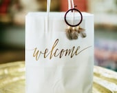 Custom gift bags + Wedding gift bags + Bridal shower gift bag + Bachelorette Party bags + Welcome Bags / Handwritten / Copper