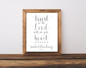 Trust in the Lord with all Your Heart Hand Written Calligraphy Print Proverbs 3:5 Digital Download Size 8 x 10