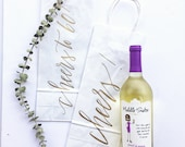 Custom Wine Gift Bags + Wedding gift bags + Bridal shower gift bag + Bachelorette Party bags + Handwritten