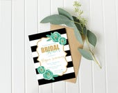 Floral Bridal Shower Invitation, Mint Gold and Black Bridal Shower Invitation, Printable Download