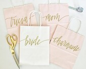 10 Bundle Set of Custom Blush gift bags + Pink gift bag + Wedding gift bag + Bridal shower gift bag + Bachelorette Party bag + Welcome Bags
