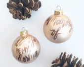 CHAMPAGNE Christmas Personalized Ornament /  Handwritten Name Ornament / First Christmas / Blush Ornament