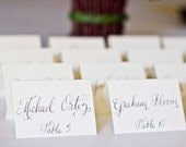 Fancy Wedding Name Cards, Place Cards, White or Ivory Tented Cards Calligraphy Place Cards Handwritten for Wedding or Event