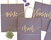 Custom gift bags + PLUM /MERLOT gift bags + Wedding gift bags + Bridal shower gift bag + Bachelorette Party bags + Welcome Bag /Handwritten