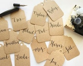 Kraft Name Tags or Escort Cards Kraft Paper Wedding Tags and Calligraphy Featured on Style Me Pretty Calligraphy Name Tags ON SALE