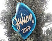 Personalized Christmas Ornament  / Handwritten Ornament / Agate Ornament / Geode Ornament / Baby's First Ornament / SHIPS NEXT DAY