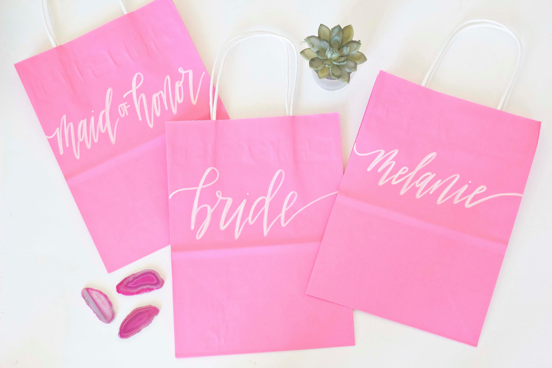 Custom gift bags Pink gift bags Wedding gift bags Bridal | Etsy