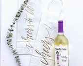 Custom Wine Gift Bags + Wedding gift bags + Bridal shower gift bag + Bachelorette Party bags + Handwritten